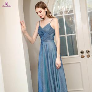 Image 4 - Длинное платье для выпускного вечера, ТРАПЕЦИЕВИДНОЕ ПЛАТЬЕ на тонких бретельках с открытой спиной, плиссированное платье для выпускного вечера, молодежное деловое вечернее платье