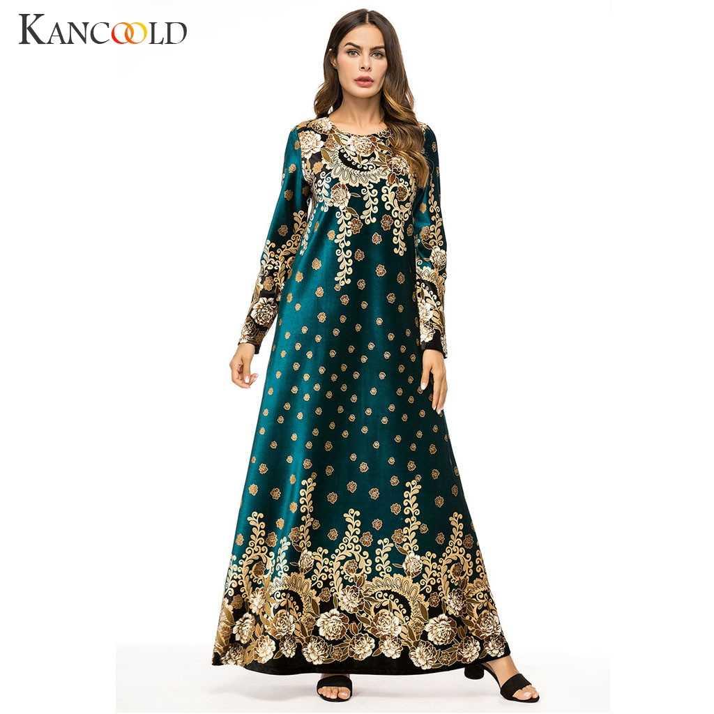 KANCOOLD 이슬람 여성 긴 소매 벨벳 자수 두바이 드레스 맥시 abaya jalabiya 이슬람 여성 의류 가운 kaftan 모로코