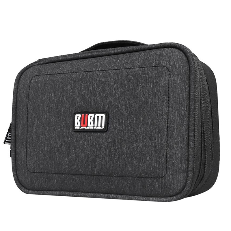 BUBM Electronics Accessories Carry Bag Double Layer Cable Organizer USB Drive Shuttle Hard Drive Case with Cable Tie