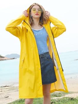 Waterproof Nylon Raincoat Women Travel Yellow Ladies Hooded Raincoat Survival Lightweight Stylish Regenjacke Rain Gear KK60YY