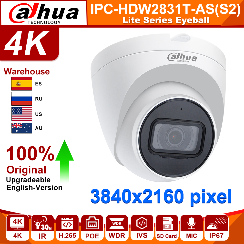 Original Dahua IP Camaera 8MP IPC IPC-HDW2831T-AS Built-in Mic SD Card Slot H.265 30M IR IVS Onvif IP67 POE Starlight Camera