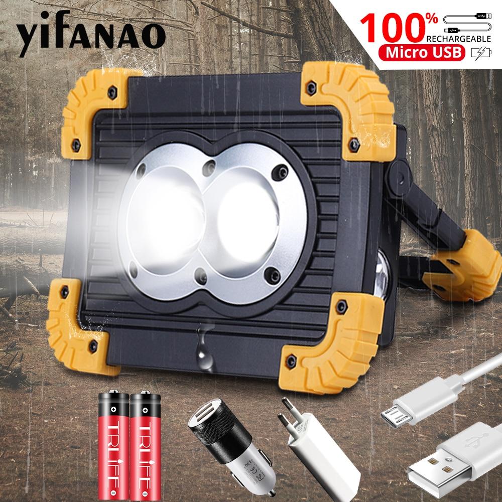 100W Dual COB Camping Lamp Searchlight Portable Spotlight Lampe Lantern USB Work Light 18650 Flash Floodlight Power Bank