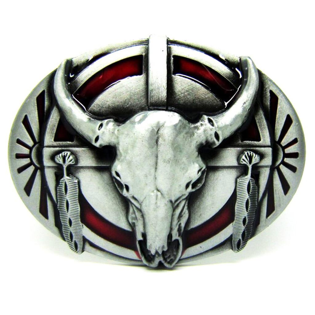 Longhorn Belt Buckle Vintage Western Metal Buffalo Indian Cowboy Men Silver