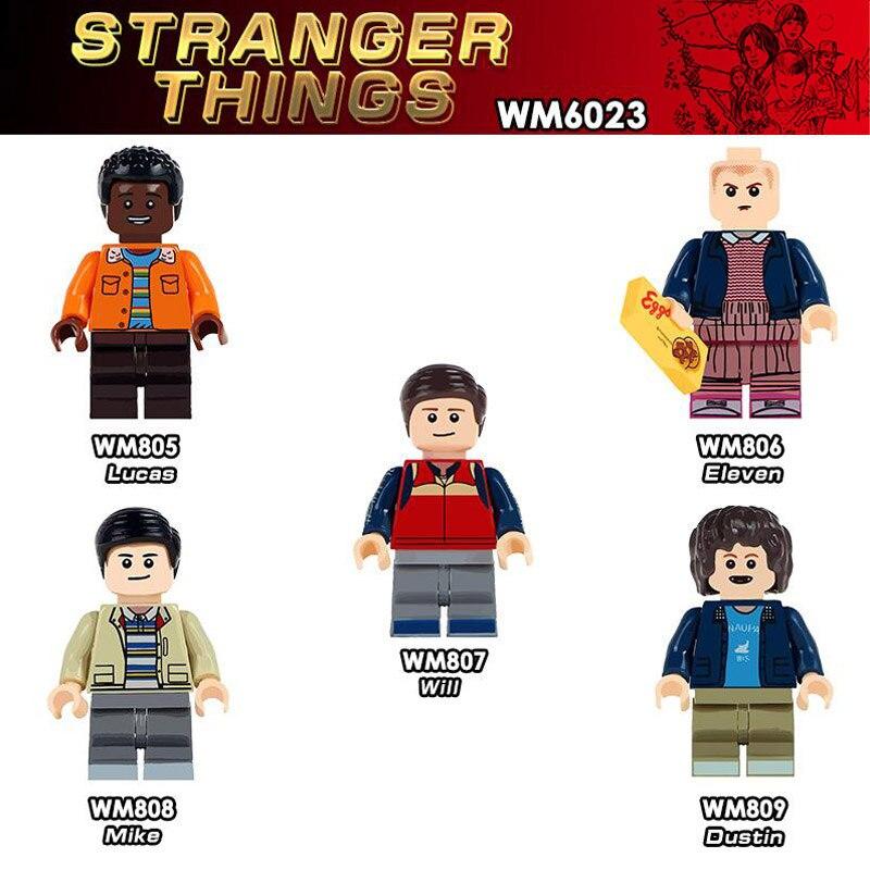 5pcs/lot TV Stranger Things Figure Set Lucas Eleven Will Mike Dustin Model Building Blocks Kits Brick Toys For Children Legoing