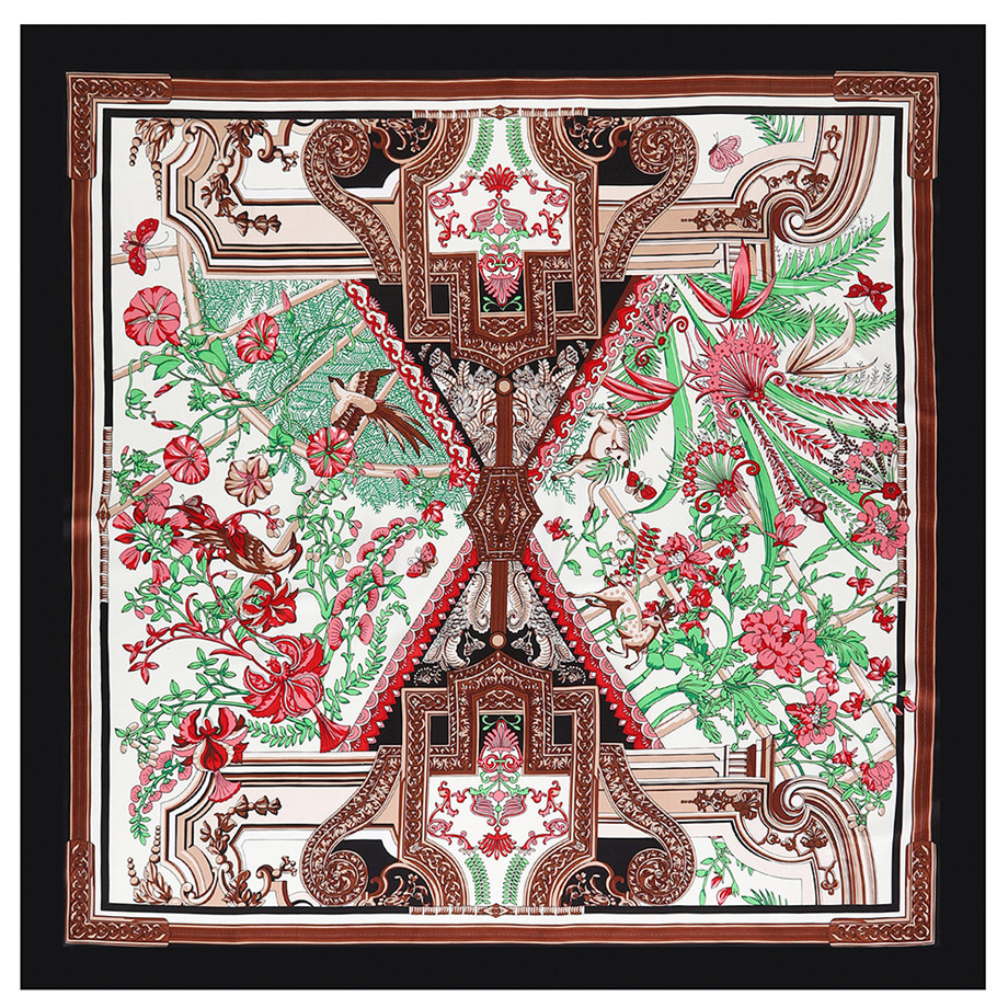 Luxury Brand Winter Scarf 130cm Phoenix DeerTwill 100% Silk Scarf Women Square Scarves Kerchief For Ladies Fashion Shawl Echarpe