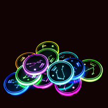 1 Piece LED Cup Holder Pads Light Mats Bottle Coasters 7 Colors Car Logo Atmosphere Constellation