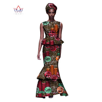 2020 New African Dresses For Women Dashiki Ladies Clothes Ankara O-Neck Africa Clothes Two Pieces Set Natural 6xl None WY1054 - 7, M