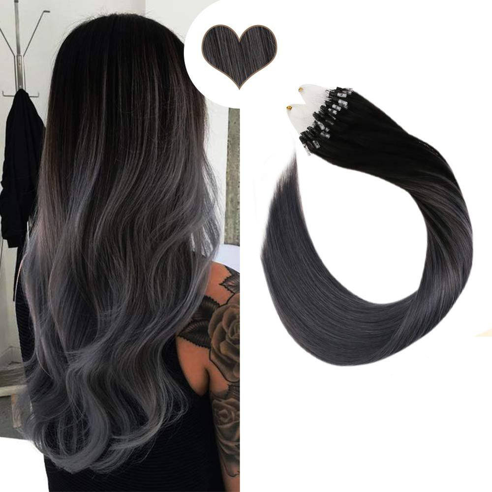 Micro Loop Human Hair Extensions Balayage Ombre Color Machine Remy Hair 14-24inch Micro Ring Hair Extensions 50g/50s 1g/1s Set 1