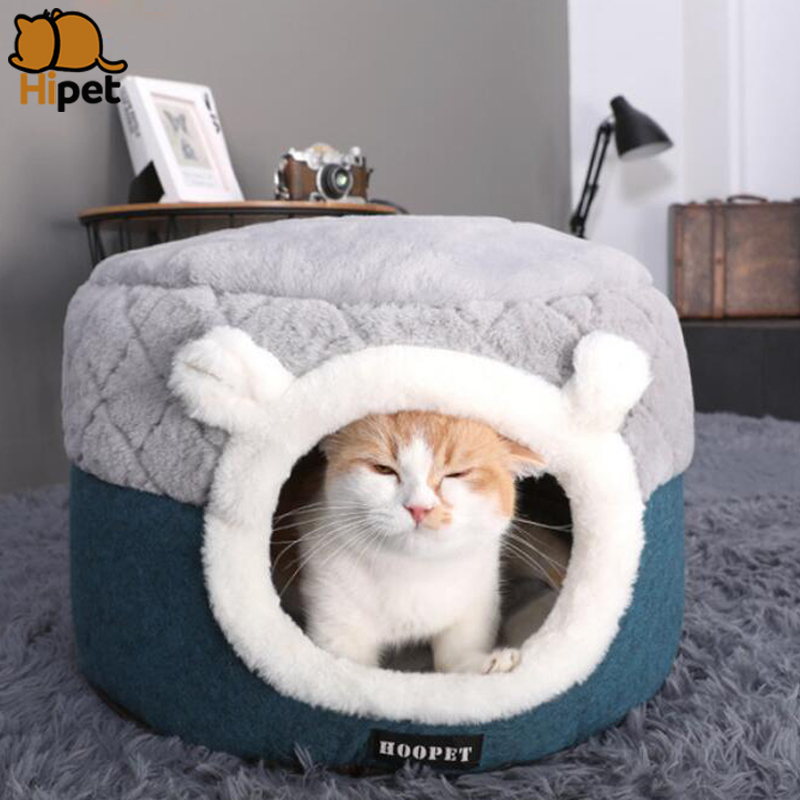 <font><b>Cat</b></font> <font><b>Bed</b></font> <font><b>House</b></font> Soft Plush Puppy Kennel Autumn Winter Warm Comfortable Small Dogs <font><b>Cats</b></font> Nest Pet Sleeping <font><b>Bed</b></font> Mat Cushion image