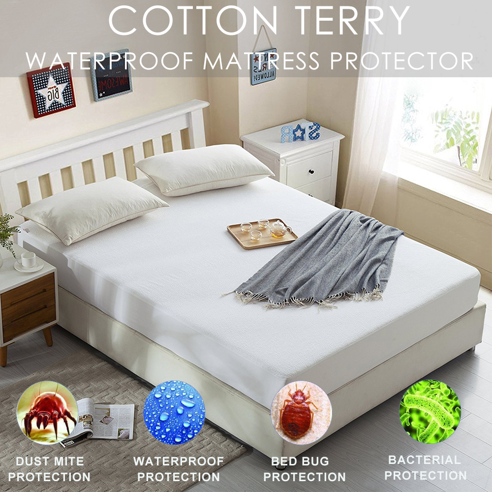 Best Waterproof Mattress Protector Premium Fitted Cotton Terry Matress Bed Cover