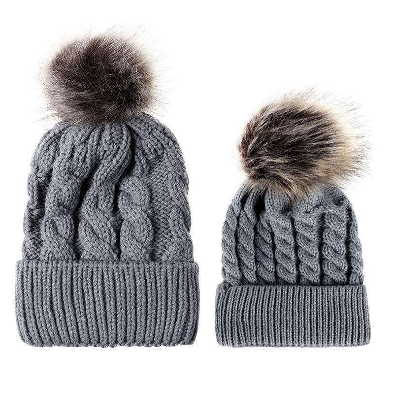 Теплая вязаная шапка милые детские шапки для девочек семейные