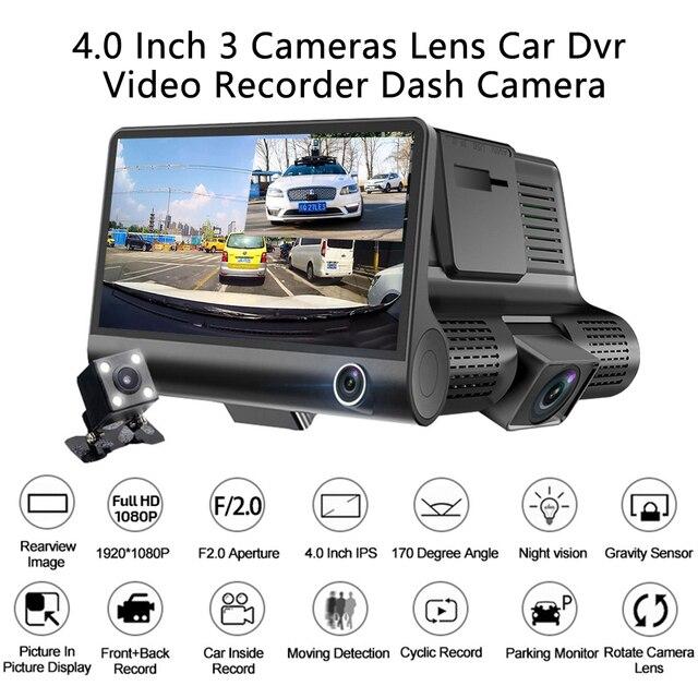 AMPrime 4 ''trois voies voiture DVR FHD trois objectifs enregistreur vidéo caméra 170 grand Angle Dash Cam g-sensor et caméscope de vision nocturne 4
