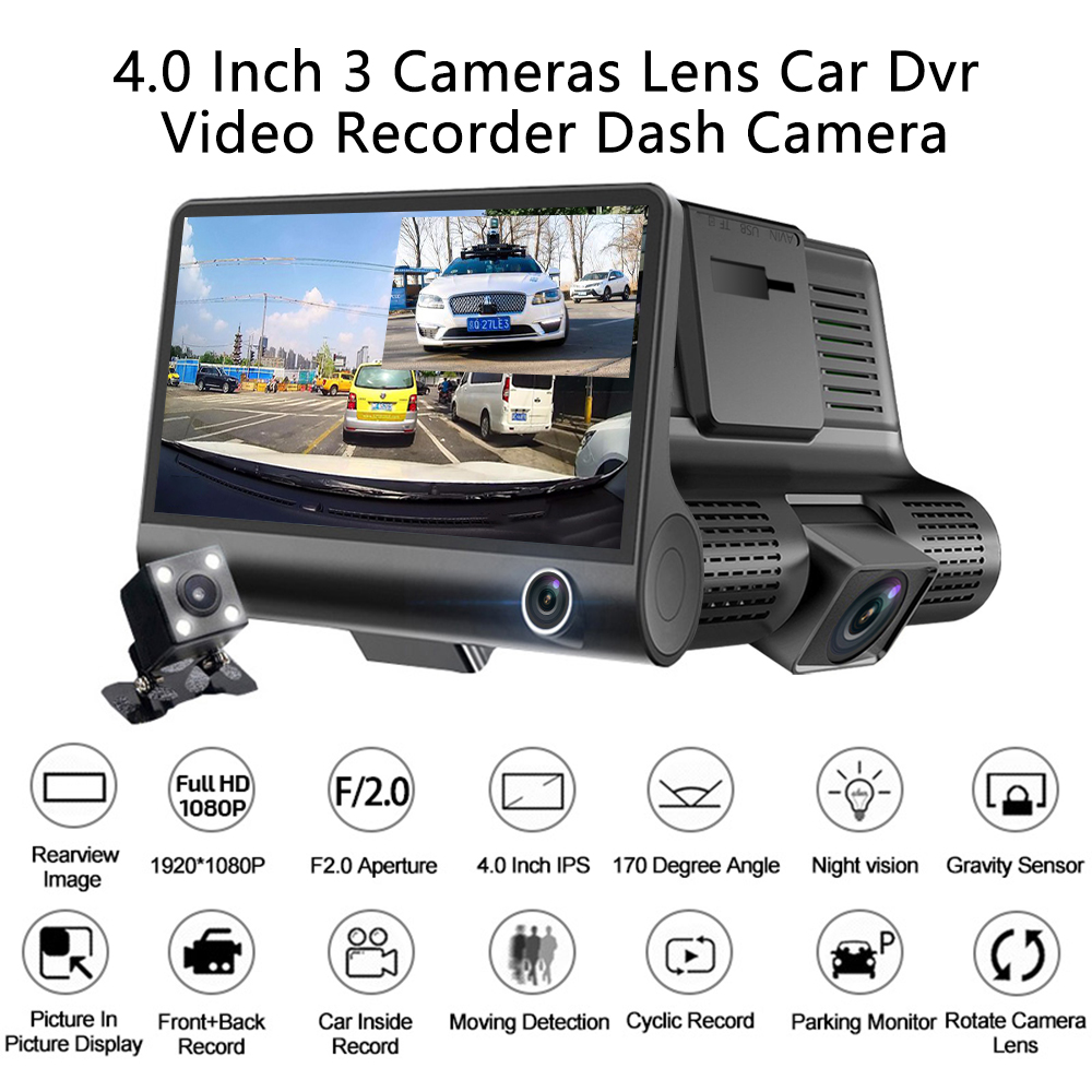 Image 5 - AMPrime 4'' Three Way Car DVR FHD Three Lens Video Recorder Camera 170 Wide Angle Dash Cam G Sensor And Night vision Camcorder-in DVR/Dash Camera from Automobiles & Motorcycles