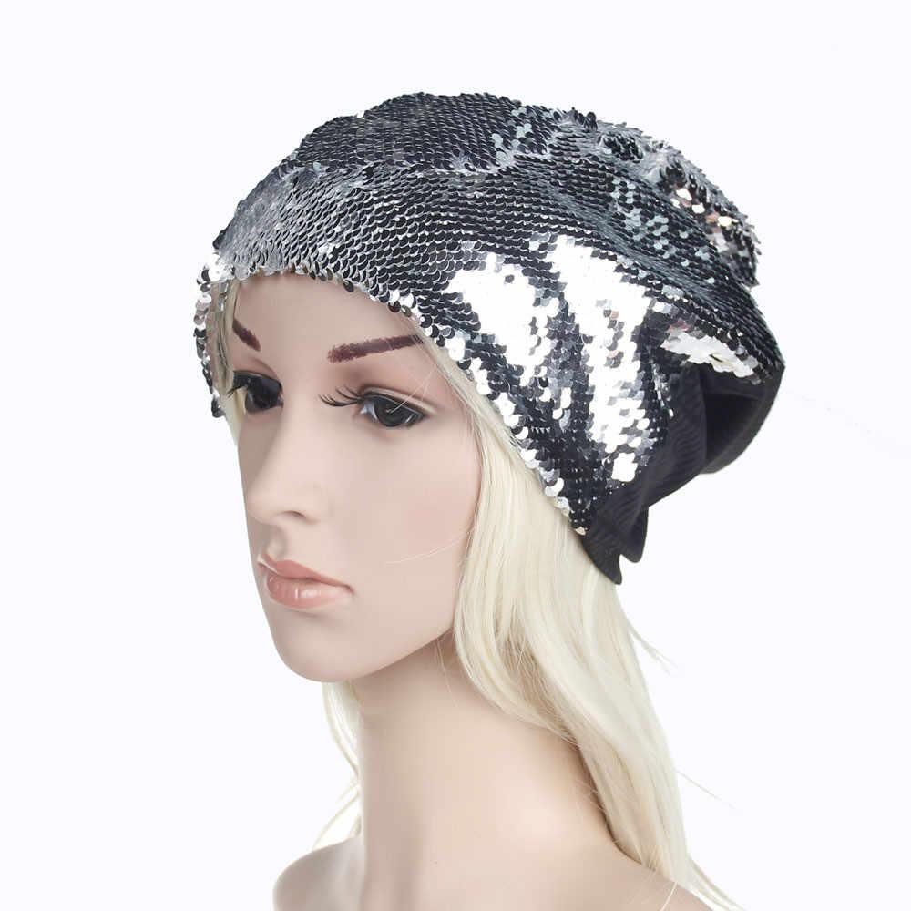 عارضة الرجال النساء الشتاء التحوط القبعات عالية الجودة الترتر محبوك كاب الأزياء مريحة فضفاض دليل الهيب هوب Skullies القبعات