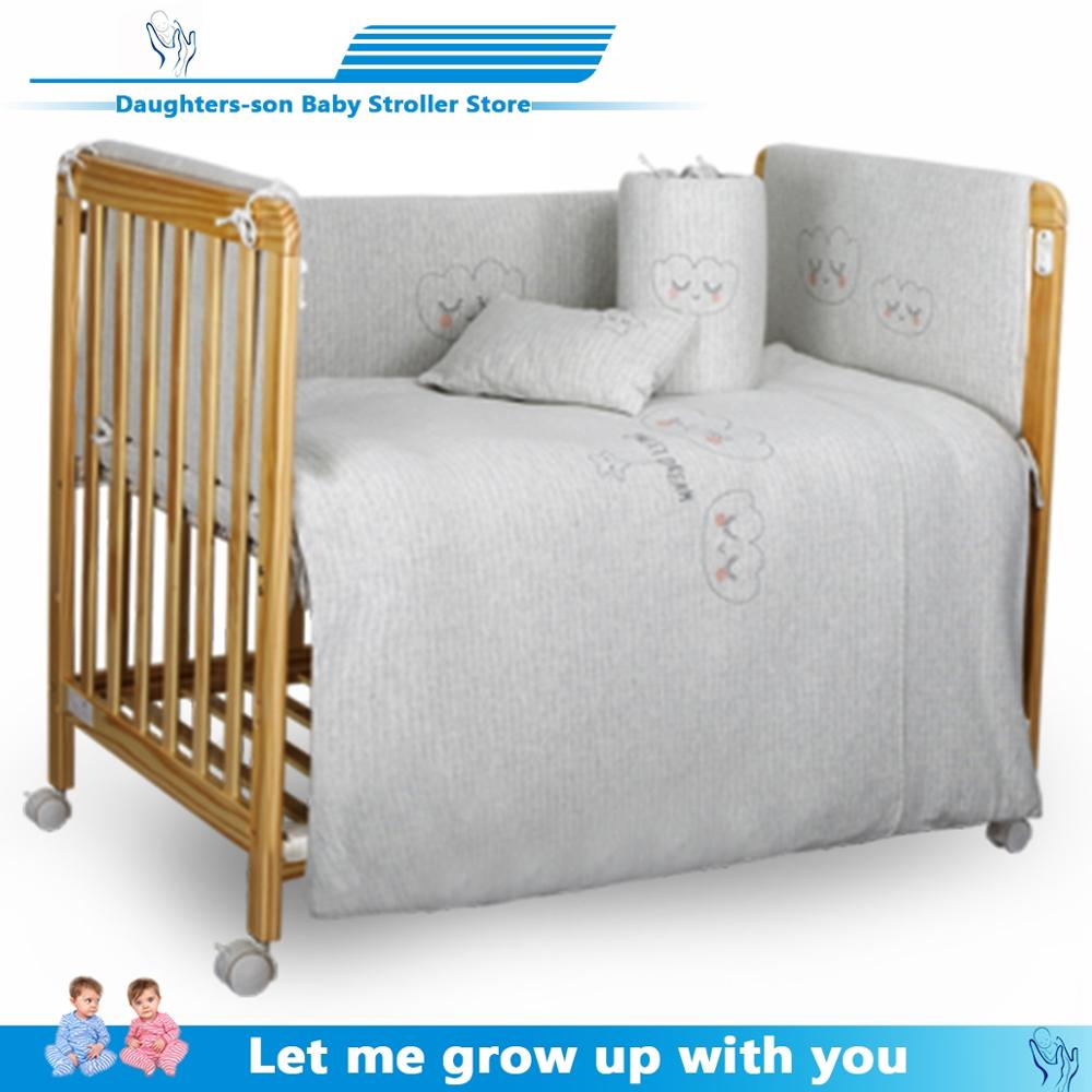 Multifunctional Baby Crib Crude Wood Healthy Water-based Care Baby Good Sleep Suitable For 0-36 Month Universal Wheel FSC&EU