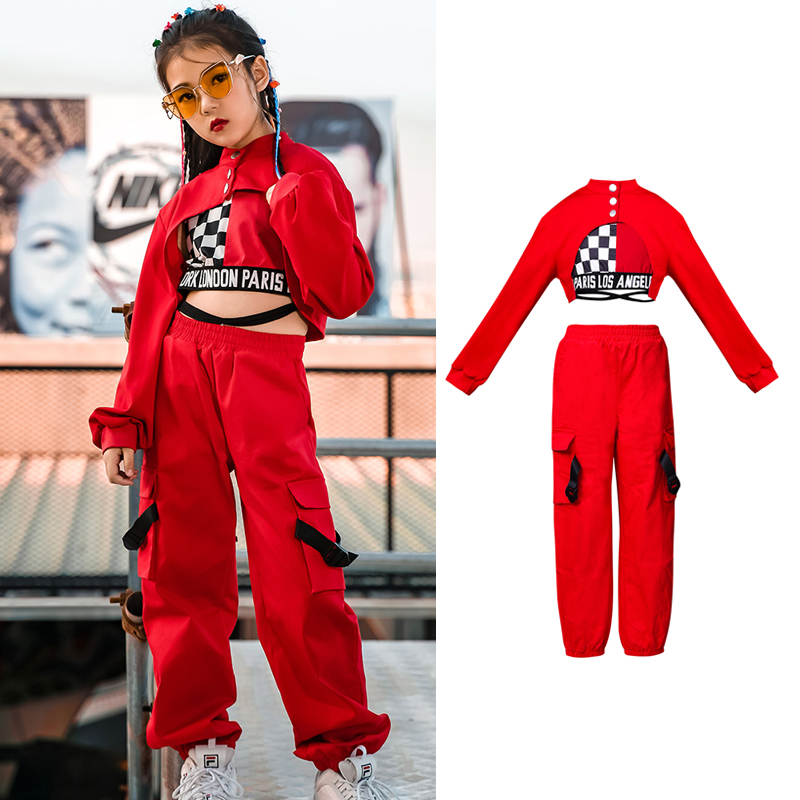 New Children Hip Hop Jazz Dance Costumes Girls Winter Long Sleeve Red Tops Pants Vest Street Dance Drum Stage Costumes DQL2918