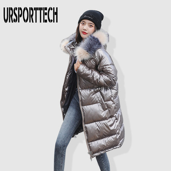 Fashion Waterproof Glossy Silver Down Parkas Womens Winter Jackets Warm Big Fur Collar Windproof Ladies Medium Long Hooded Coats