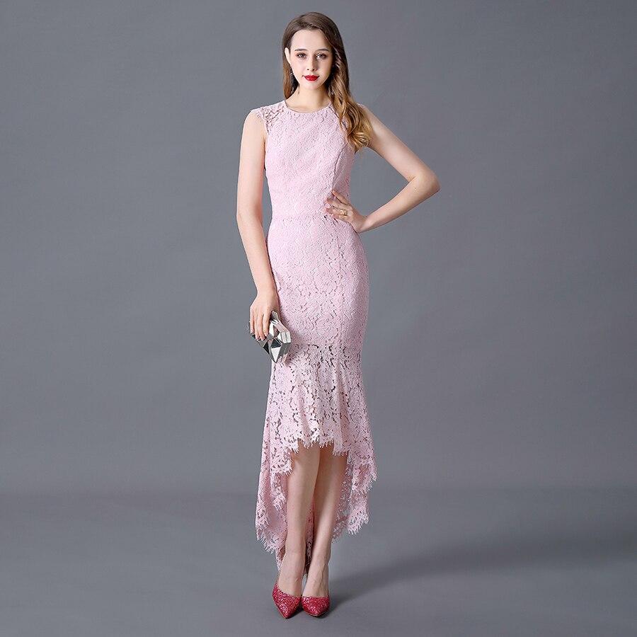 Evening Dress Asymmetrical Mermaid Blushing Pink Long Dress Scoop Neck Lace Sleeveless Floor Length Zipper Back Wedding Guest