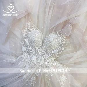 Image 5 - Romantik tül gelinlik Swanskirt Boho boncuklu aplikler A Line mahkemesi tren prenses gelin kıyafeti Vestido de noiva UZ34