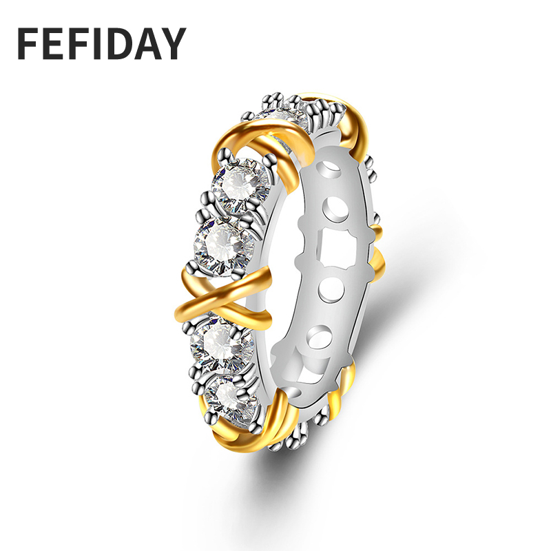 Fefiday Wide Crystal Finger Engagement Gold Ring Crystal Band Ring Female Ladies Marriage Wedding Rings For Women With Stones Wedding Bands Aliexpress