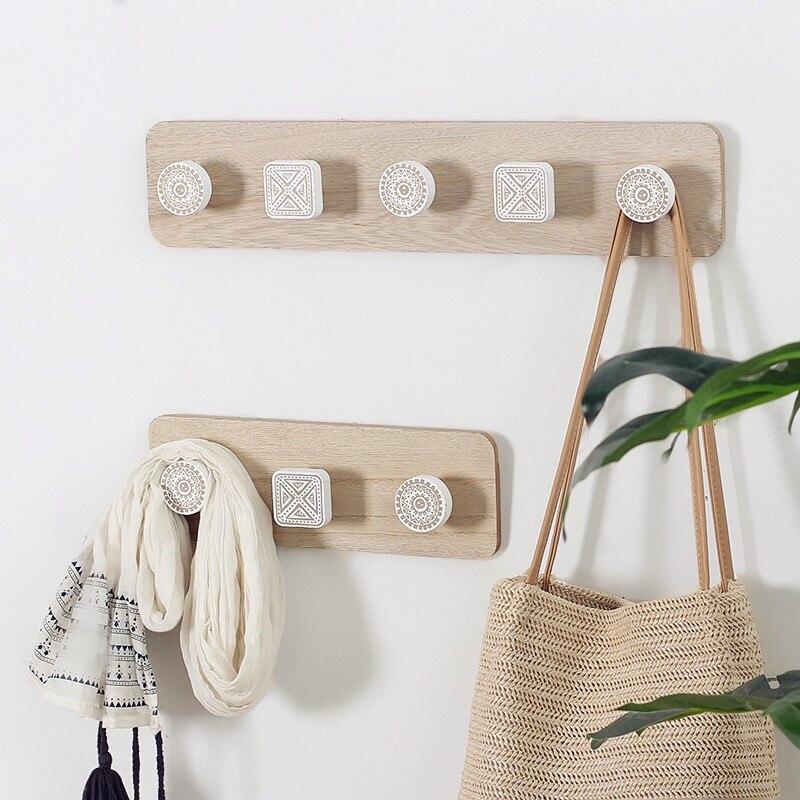Perchero de madera nórdico gancho de pared para ropa decorativo hogar perchas para llaves soporte de pared perchero para llaves estante de pared