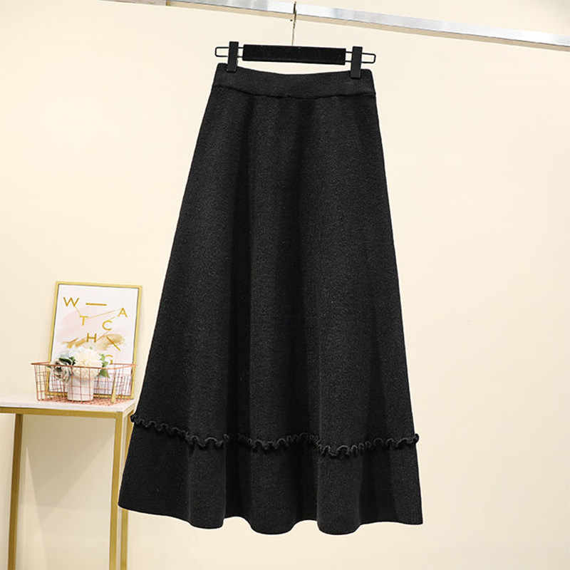 Женское осенне-зимнее платье большого размера, тонкая трикотажная юбка свободного кроя, Однотонная юбка, длинная юбка