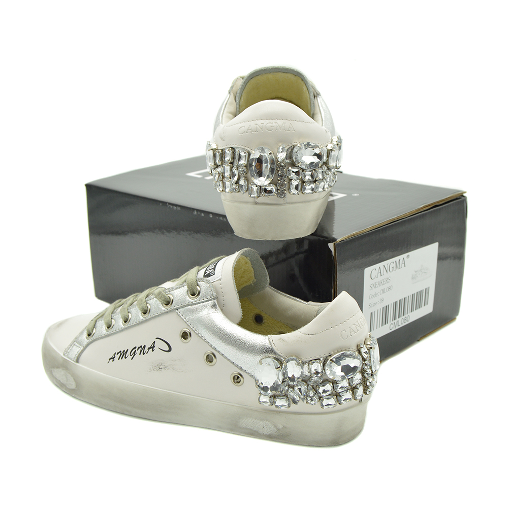 CANGMA Casual Shoes Brand Sneakers Women Silver Diamond White Flats Genuine Leather Shoes Crystal Trainers