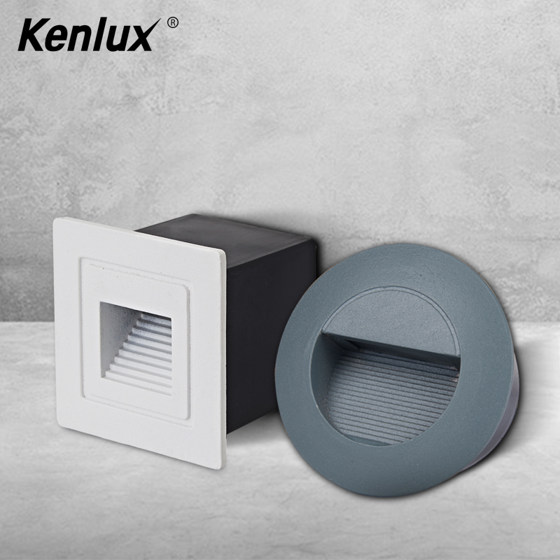 Kenlux Led Stair Light Recessed Step Lights 3W Square & Round AC85-265V Outdoor & Indoor Waterproof Fashion Wall Corner Lamp