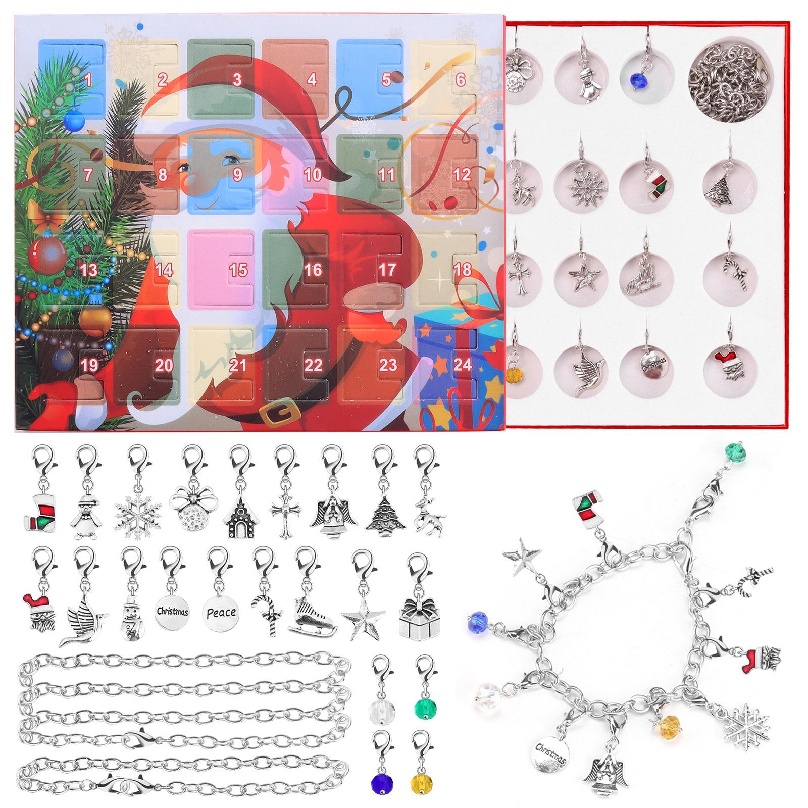 2020 24Days Christmas Countdown Advent Calendar DIY Charm Bracelet Necklace Jewelry Making Kit for Kids Children Xmas Gifts