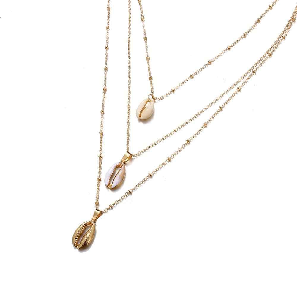 Złoty kolor Shell wisiorki i naszyjniki dla kobiet moda na morze plaża Boho metalowe powłoki naszyjnik biżuteria najlepszy przyjaciel biżuteria