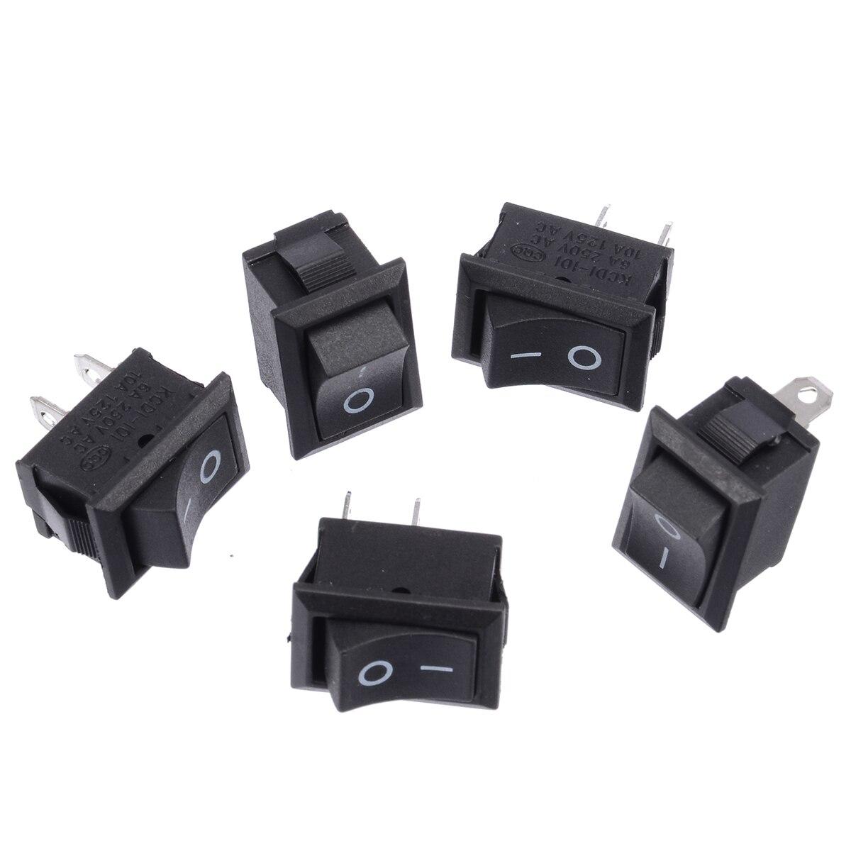 10Pcs 2 Pin On-Off Spst Round Rocker Switch Ac 10A//125V6A//250V Black cv