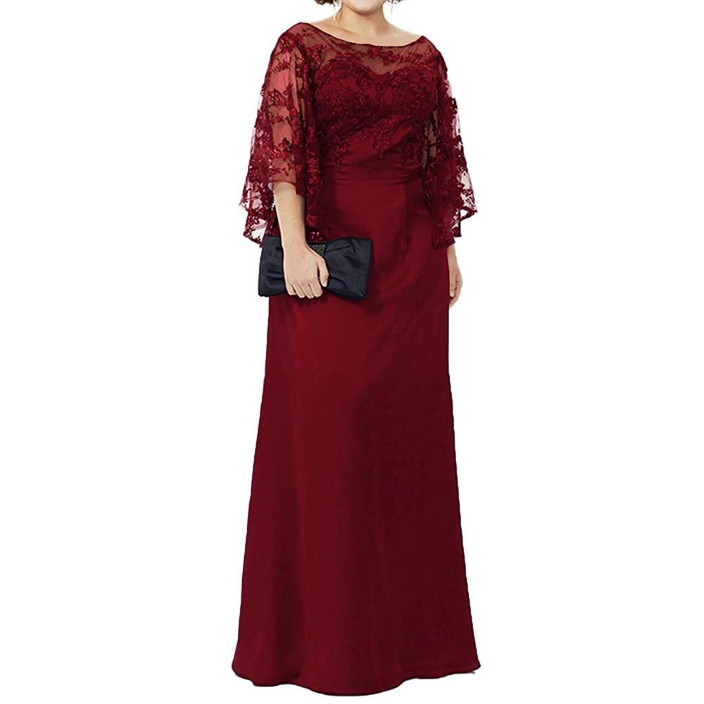 Long Sleeve Lace Top Plus Size Mother Of The Bride Dress Floor Length Long Column Women Formal Evening Gowns Mother Of Groom