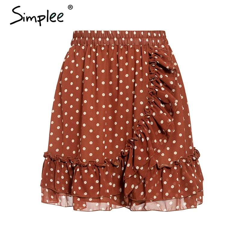 Image 5 - Simplee Elegant polka dot print women mini skirt Streetwear ruffled A line skirt female Spring summer holiday ladies skirts 2020Skirts   -