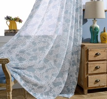 Flower Patterns Printing Curtains Modern Tulle Yarn Sheer for Living Room Bedroom Perspective Blue Curtain