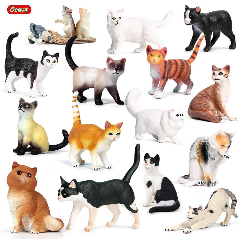 Oenux Lovely Pet Cat Model Action Figure Persian Cat Kitty Bobtails Siamese Figurine Mini Cute PVC Decoration Education Toy Kid