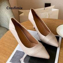 Cresfimix moda feminina apontou toe primavera deslizamento em sapatos de salto alto senhoras clássico marrom plutônio bombas de couro sapatos azul c9071