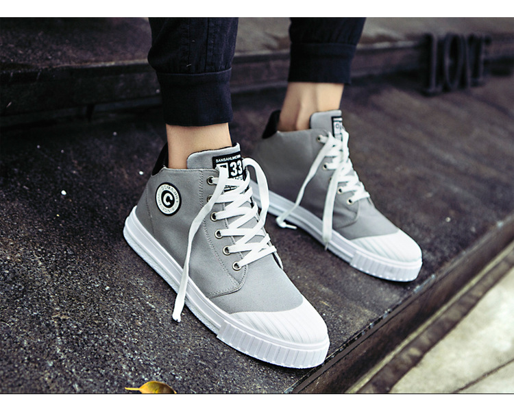 New High Top Canvas Casual Shoes Men Sneakers 2019 Hot Men Shoes Fashion Autumn Winter Men Lace Up Footwear for Man