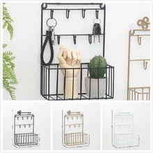 New Keys Shelf Storage Basket Metal Key Hook Iron Decorative Wall Hanging Earring Ring Jewelry Hooks Home Decor Rack