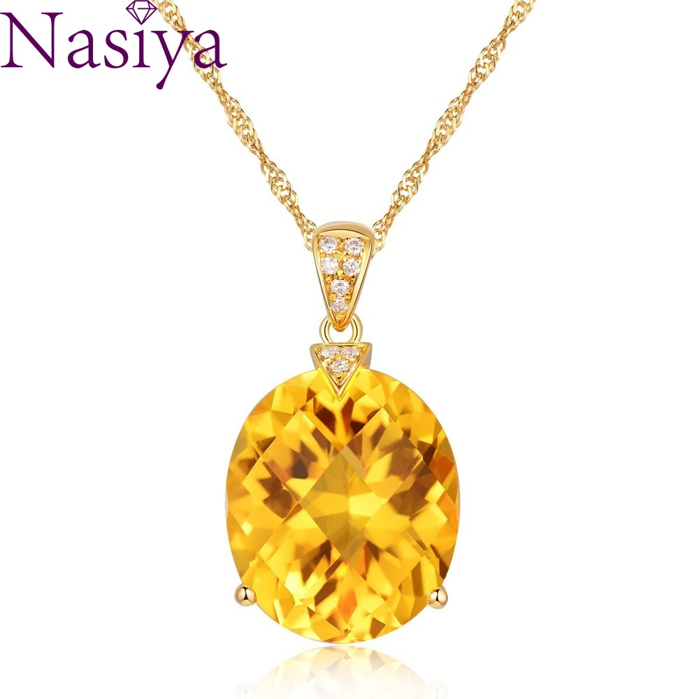 Luxury Sterling Silver 925 Pendant Necklace For Women Fine Jewelry Yellow Citrine Chain Wedding Engagement Party Valentine Gift