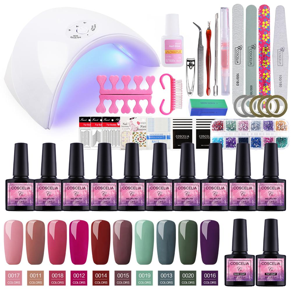 Set For Manicure Nail Kit Set Gel Varnish Set 6/10/12 Color UV Gel Polish 36/72W LED Lamp Gel Varnish Nail Polish Set UV Machine