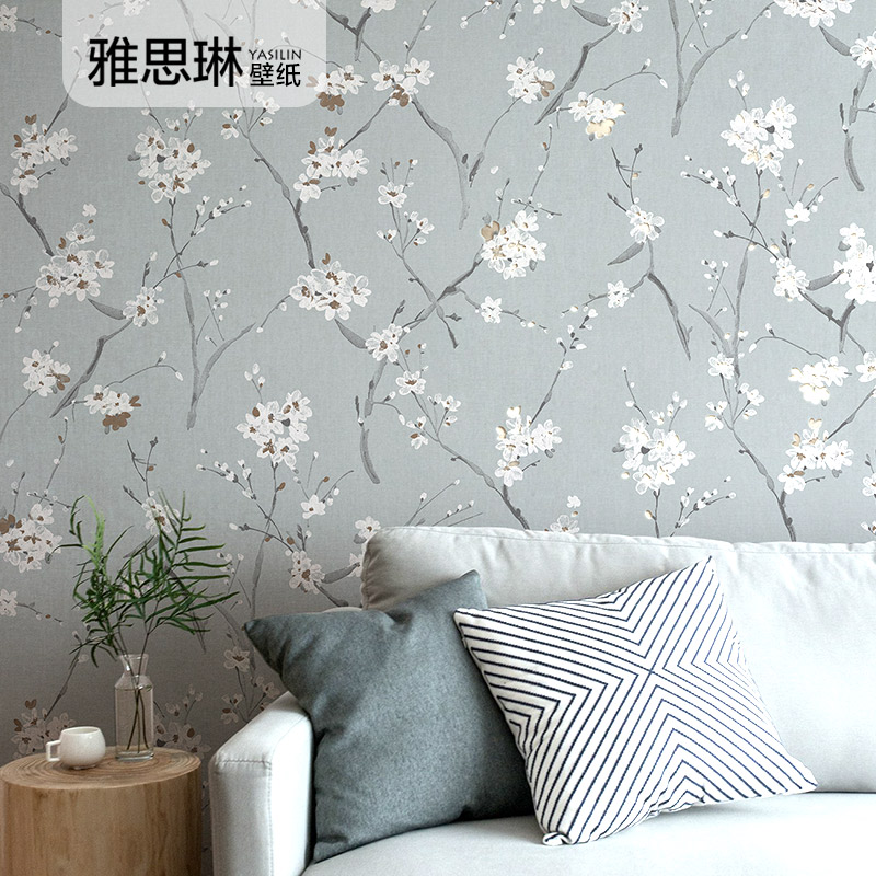 Bonne qualité style nordique papier peint non-tissé pastorale coréen floral maison salon chambre TV fond papier peint