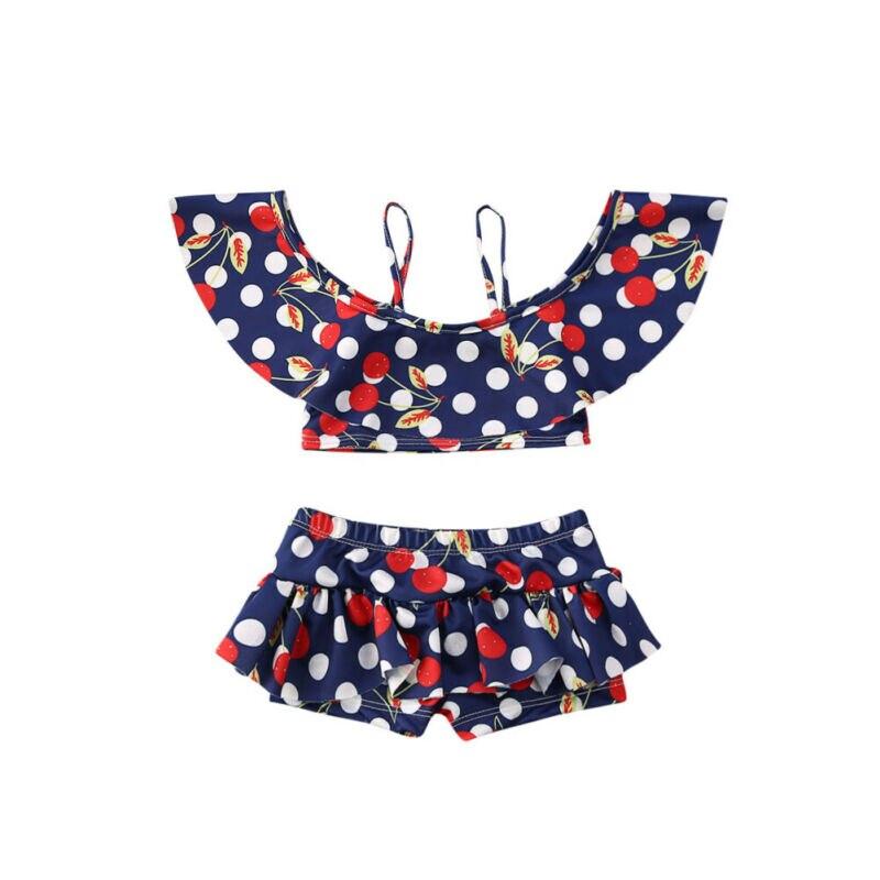 Traje de baño infantil para chico y niña, traje de baño, Bikini, bañador, ropa de playa, con volantes, con hombros descubiertos, parte superior alta de Wasit
