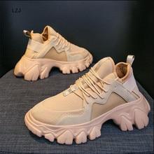 LZJ; коллекция года; сезон весна; ботинки на высокой платформе; женская обувь на толстой подошве; кожаные кроссовки на танкетке; Водонепроницаемая дышащая повседневная обувь; Размеры 35-39