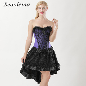 Image 4 - Beonlema Steampunk สีม่วงเซ็กซี่รัดตัวชุด Gothic Korset Punk Goth ฉัตรกระโปรง Overbust Bustiers Lace Up Top Plus ขนาด Korse