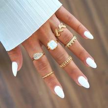 Cuteeco Vintage 6 Pcs/Set Fashion Bohemia Leaf Crystal Crown Womens Ring Set Midi Ornament for Women Girl Knuckle