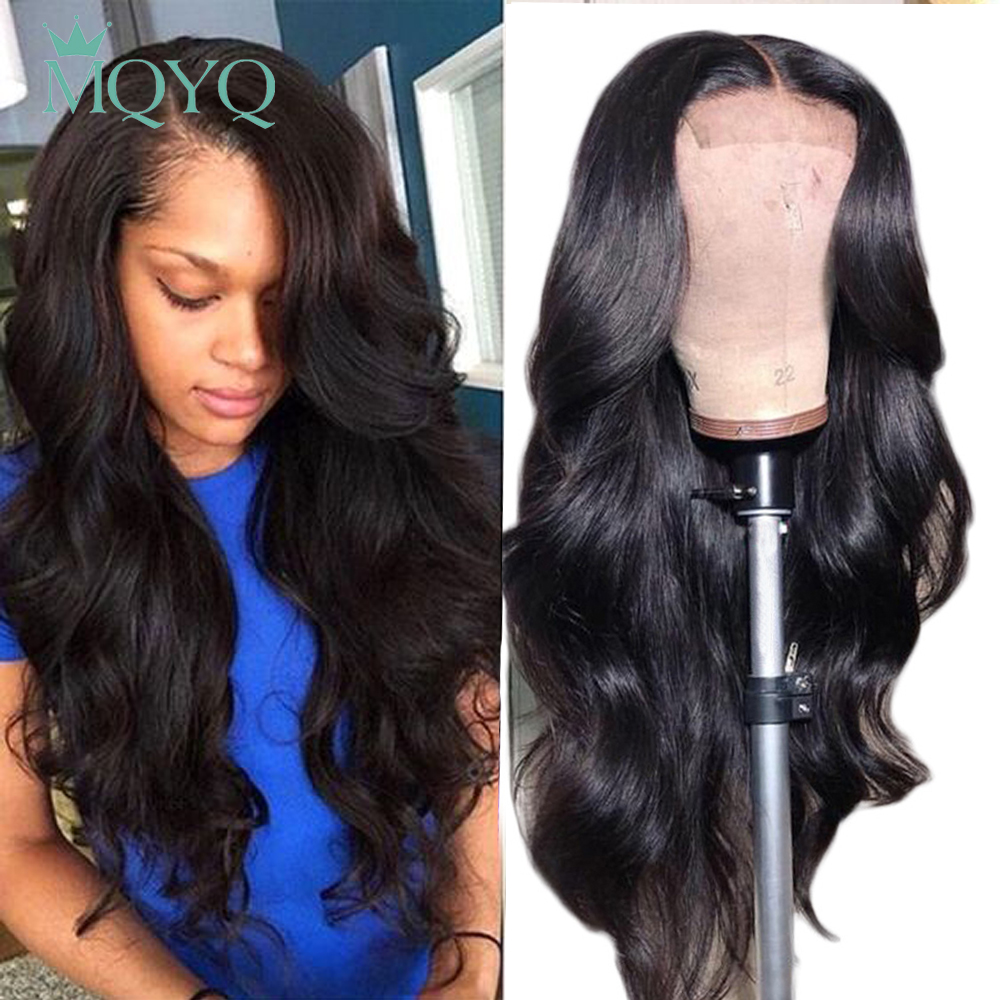 MQYQ Brazilian Lace Frontal Human Hair Wigs 13x4 Lace Frontal Body Wig For Black Women With Baby Hair Non Remy Bleached Knot