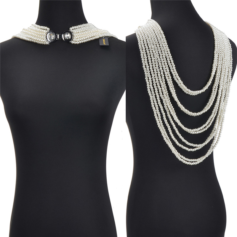 New 2019 Multi-layer Resin Pearl Long Necklace Front/Back Maxi Necklaces Fashion Jewelry For Women Party Accessories White Gray