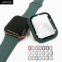 URVOI Volle abdeckung für Apple Uhr serie 6 SE 5 4 3 2 matte Kunststoff bumper hard rahmen fall mit glas für iWatch screen protector