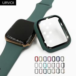 URVOI Full cover for Apple Watch series 6 SE 5 4 3 2 matte Plastic bumper hard frame case with glass for iWatch screen protector