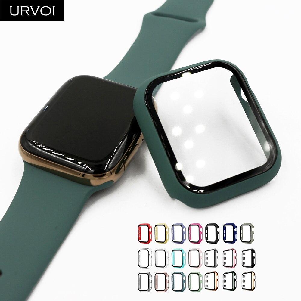 URVOI Volle abdeckung für Apple Uhr serie 5 4 3 2 matte Kunststoff bumper hard rahmen fall mit glas film für iWatch screen protector